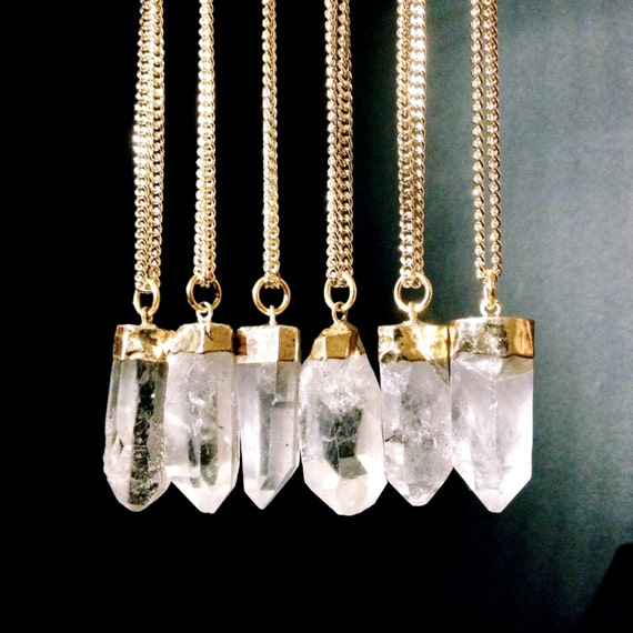 Quartz Crystal Point Pendant Necklace