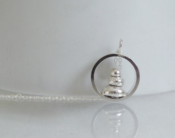 Gorgeous Handmade Solid Sterling Silver Organic Form Stacked Pebble Pendant Unique