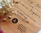 "Real Wood ""Wood Roses"" Wedding Invitations + Envelopes"
