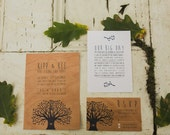 "Real Wood ""Carved Tree"" Wedding Invitations + Envelopes"