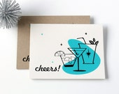 Cheers! Retro Cocktails Hand printed card
