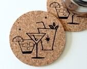 Retro Cocktail Coasters. Set of 6 Cork
