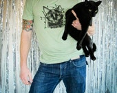 WOW 5 Dollars (S)(M) Party Black Cat Tshirt (unisexl fit) mint tee with neon green string of lights
