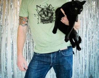 Mayan Laser Caturday Red Tee With Neon Green Laser By