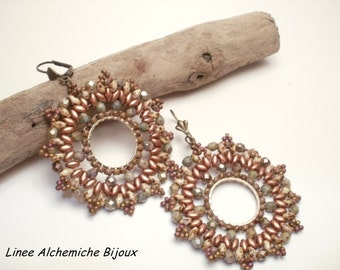 Bead tutorial, Notre-Dame earrings, Earrings pattern with seed beads and firepolish