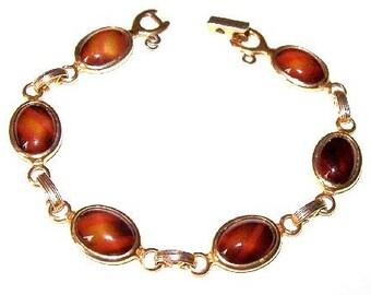 "Sarah Coventry Bracelet Signed Brown Tiger Eye Art Glass Stones Gold Metal Link Style 8"" Vintage"
