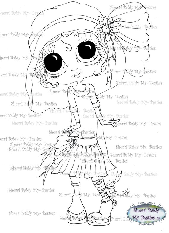 INSTANT DOWNLOAD Digital Digi Stamps Big Eye Big Head Dolls Img091 Bestie By Sherri Baldy