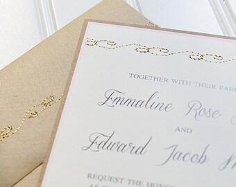 Gold and Blush Wedding Invitations: Unique Handmade Sewn Kraft Invites. Vintage Wedding Pink And Gold.