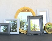 Yellow Grey/Gray White Ornate Upcycled 6 Mirrors collection.... Painted Modern Mirror set of 6 Yellow Gray Grey Home decor Nursery Modern
