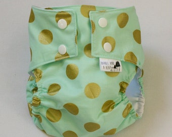 Blue with Gold Dots Water Resistant PUL Diaper Cover Available in Small