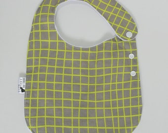 Grey and Green Grid Adjustable Side Snap Bib with Minky Back
