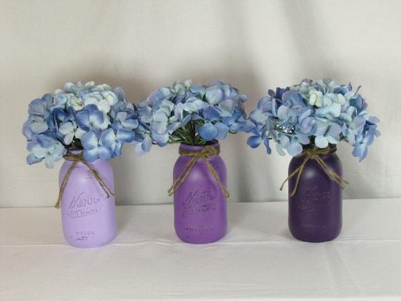Painted mason jars wedding centerpiece purple