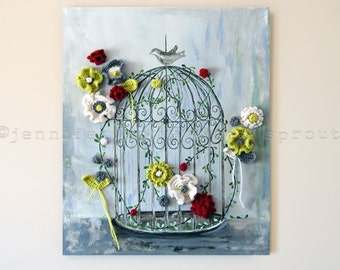 """Vine and Flowers Growing in Vintage Bird Cage, 20"""" x 24"""" CROCHET + PAINTING on CANVAS, with Crochet Flowers, Vine and Leaves, Bird Cage"""