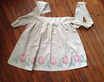Embroidered Half Apron