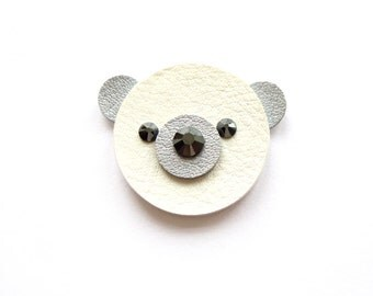 TEDDY BEAR BROOCH, polar bear brooch, white teddy bear