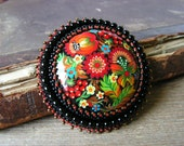 Bead embroidered Brooch Beadwork Brooch Flower Brooch Colorful Brooch Hand Painted Brooch Bead embroidery jewelry Folk style MADE TO ORDER
