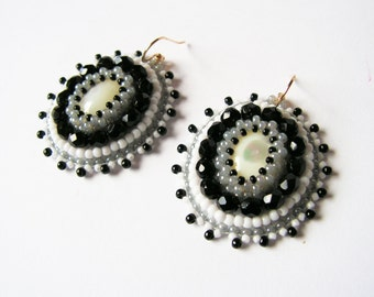 Embroidery Earrings Beadwork Earrings Bead embroidered jewelry Black White Grey Earrings Mother of Pearl Earrings Black White Jewelry