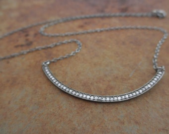 CZ bar necklace with oxidized sterling chain