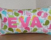 Birds Name Pillow / Custom Kids Pillow / Name Pillow / Personalized Kids Pillow