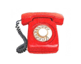 "Rustic Vintage Telephone Sketch - JPEG - Red Telephone - 6"" x 7 1/2"" - Instant Download - Digital Image - Clipart"