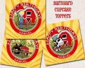 Barnyard Birthday Party Cupcake Toppers / Tags, western, farmer (Digital File)