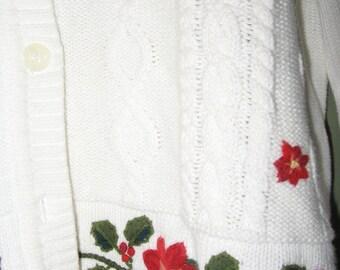 LIZ CLAIBORNE  SWEATER Medium White Red Embroidery Flowers 80s epsteam  Retro Vintage Sportswear Lizsport Floral