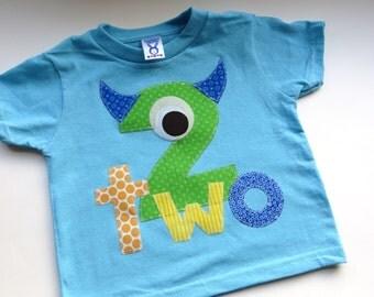 Monster Birthday Shirt Second Birthday Boys Shirt gift photo prop funny