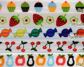 Fruit and Food  5/8th inch Elastic, FRUIT & FOOD print Elastic for Hair Accessories - 10 yards - you choose colors