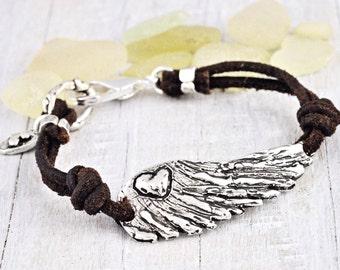 Soul Awake Bracelet - Inspirational Jewelry - Wing Bracelet - Leather Bracelet - B204