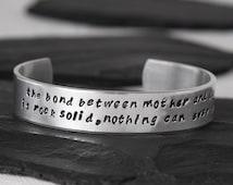 Mother Daughter Bracelet   The Bond Between Mother Daughter Cuff Bracelet   Gift from Daughter to Mother   Gift to Daughter   Relationship