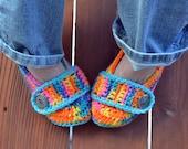 Neon crochet slippers, womens slippers, crochet booties, crochet shoes, crochet socks, colorful, variegated, tie dye slippers in bikini