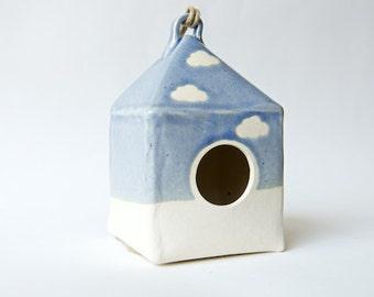 40% OFF - Modern Blue Yellow Birdhouse Handmade Ceramics by RossLab Garden Decor Outdoors Planter Cloud Hostess Gift Holiday Gift for Her