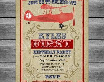 Airplane Red Invitation Vintage Card | Printable | Digital | Customizable
