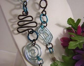Eyeglass Chain in Soft Blue and Brown Whimsical Wire Shapes