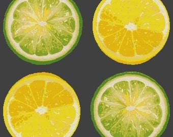 Large - Modern Cross Stitch Kit - Lemon and Limes