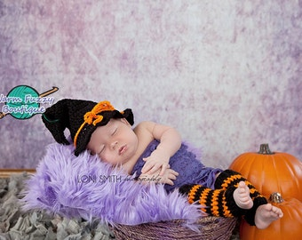 Instant Download PDF Crochet Pattern - No. 49 Halloween Witch's Hat & Leg Warmers Outfit - 3 Sizes