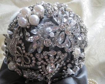 Brooch Bouquet Keepsake Rhinestone Pearls Silver