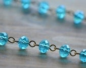 100cm Round Faceted Blue Bead Necklace Chain 8mm Glass Bead Antique Bronze Chain Jewelry Making Supplies (EC147)