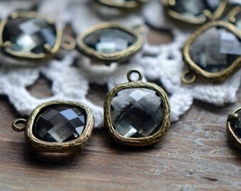 Square Jewel Charms SMOKY QUARTZ Drop Gem Jewels Square 12mm Gray Black (AW029)
