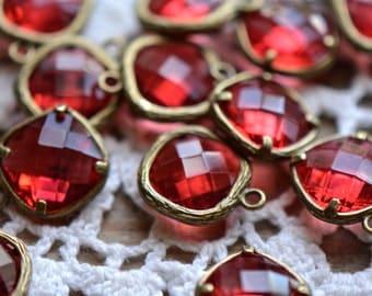 4 - Square Jewel Charms SIAM Drop Gem Jewels Square 12mm Red (AX019)