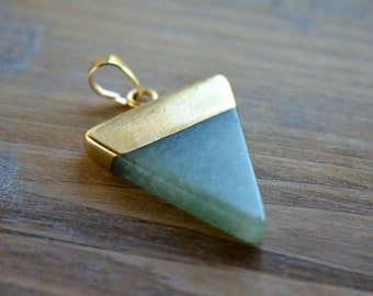1 - Triangle Green Aventurine Pendant Dipped 24K Gold Plating 30mm Flag Gemstone Jewelry Making Supplies (R017)