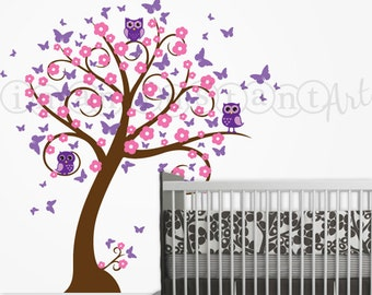 Owl and Tree Wall Decal with Butterflies and Blossoms, Owl Blossom Butterfly Tree Wall Decal for a Baby Nursery, Kids or Childrens Room 044