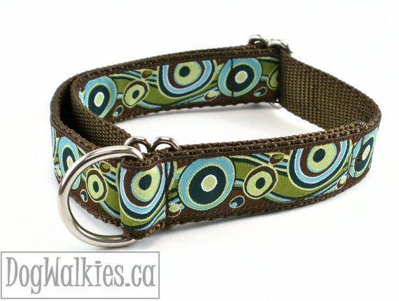 """Pistachio and Chocolate Swirls Dog Collar / 1"""" (25mm)Wide / Choice of collar style and size - Martingale Dog Collars or Quick Release Buckle"""