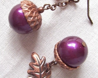Blackberry and Antique Copper Acorn and Oak Leaf Earrings