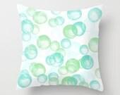 Pillow Cover, Throw Pillow, Nursery Room Pillow, Pastel Colours Pillow, Watercolour Pillow, Bubbles Pattern, Mint Pillow - Bubbles