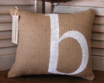 "Burlap Pillow- FREE SHIPPING 11"" x 14"" -Initial Pillow-Decorative Pillows-Burlap Pillows-Burlap- Wedding Gift- Birthday Gift-Gift-Pillow"