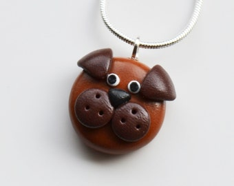 Dog Face Necklace, Polymer Clay, Fimo