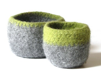 WOOLY FELTED BOWLS - two felted nesting bowls - lime and smoke grey