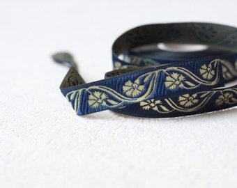 16 mm navy blue Jacquard ribbon, Embroidered border, Sewing trim, flower Jacquard trim, navy blue and  gold ribbon trim, Craft trim, fabric