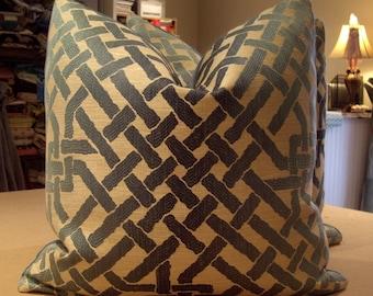 """Groundworks / Lee Jofa / Kelly Wearstler Teal """"OMBRE MAZE"""" Italian Geometric Custom Pillows Pair - Teal Velvet Back - 20"""" Square - KWID"""